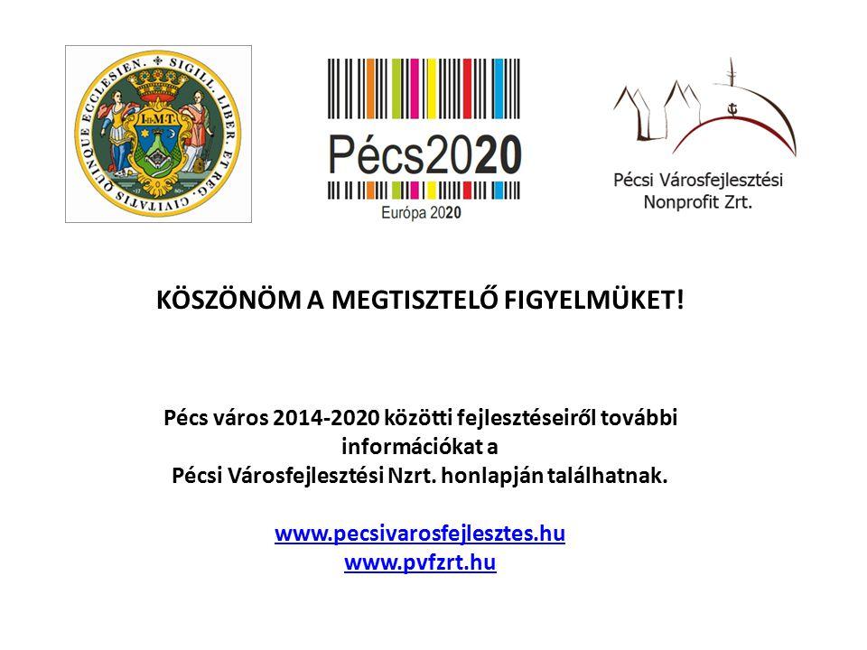 KÖSZÖNÖM A MEGTISZTELŐ FIGYELMÜKET! Pécs város 2014-2020 közötti fejlesztéseiről további információkat a Pécsi Városfejlesztési Nzrt. honlapján találh