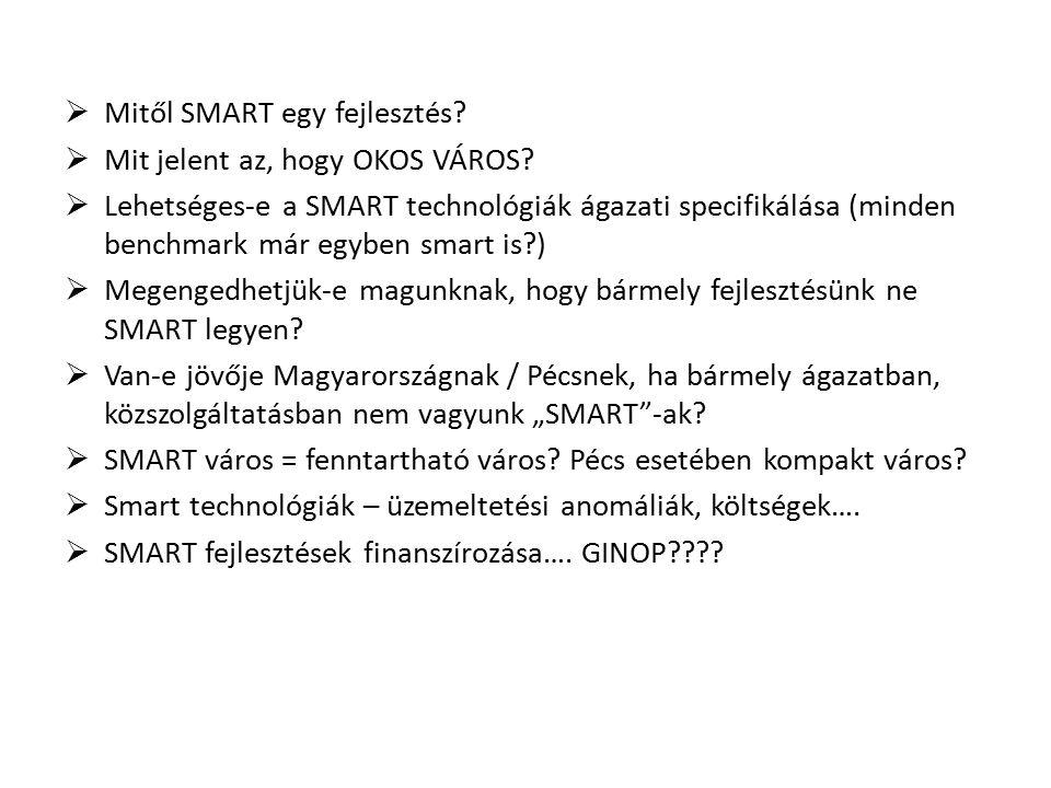  Mitől SMART egy fejlesztés?  Mit jelent az, hogy OKOS VÁROS?  Lehetséges-e a SMART technológiák ágazati specifikálása (minden benchmark már egyben