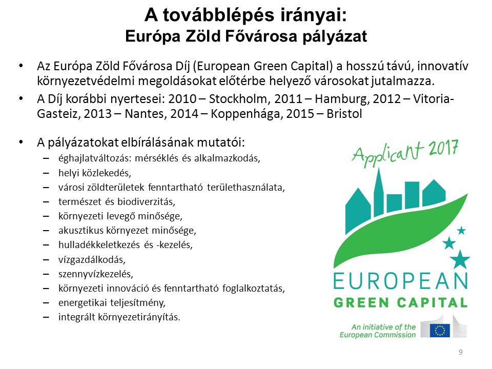 A továbblépés irányai: Európa Zöld Fővárosa pályázat Az Európa Zöld Fővárosa Díj (European Green Capital) a hosszú távú, innovatív környezetvédelmi me