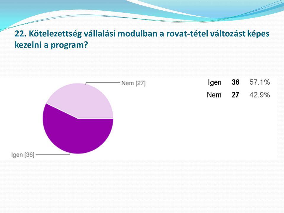 22. Kötelezettség vállalási modulban a rovat-tétel változást képes kezelni a program?