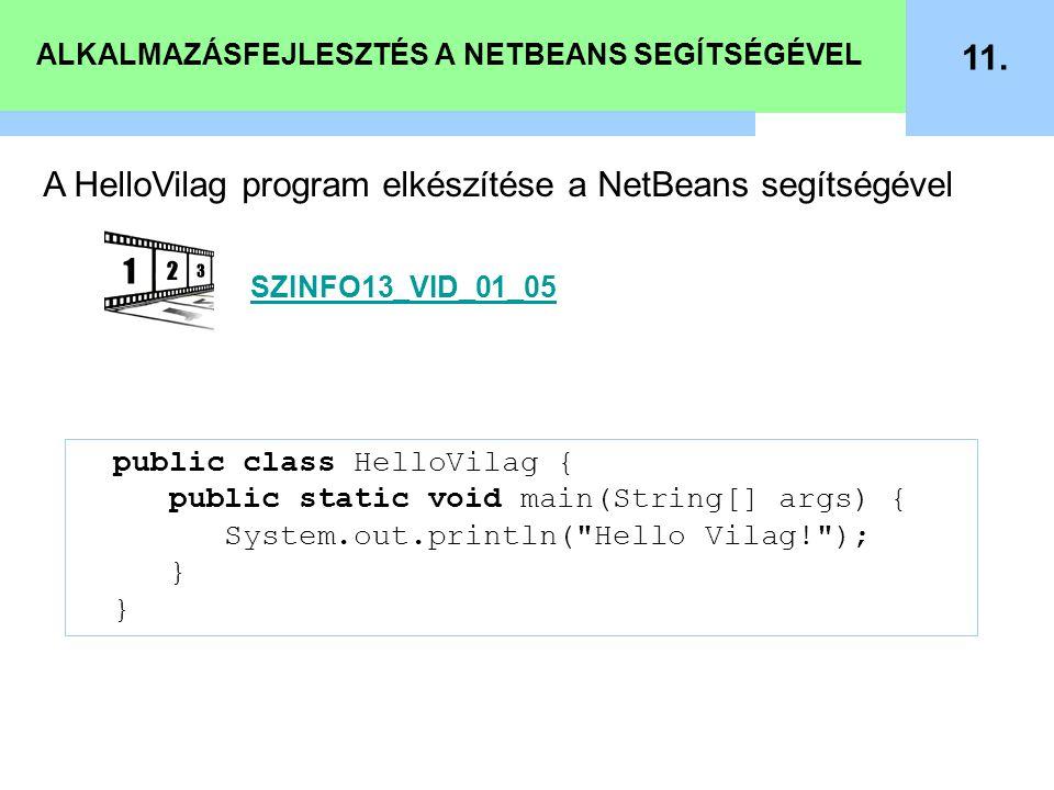 ALKALMAZÁSFEJLESZTÉS A NETBEANS SEGÍTSÉGÉVEL 11. public class HelloVilag { public static void main(String[] args) { System.out.println(
