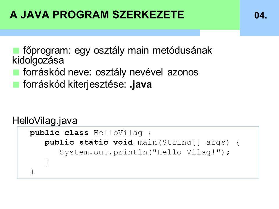 A JAVA PROGRAM SZERKEZETE 04. public class HelloVilag { public static void main(String[] args) { System.out.println(