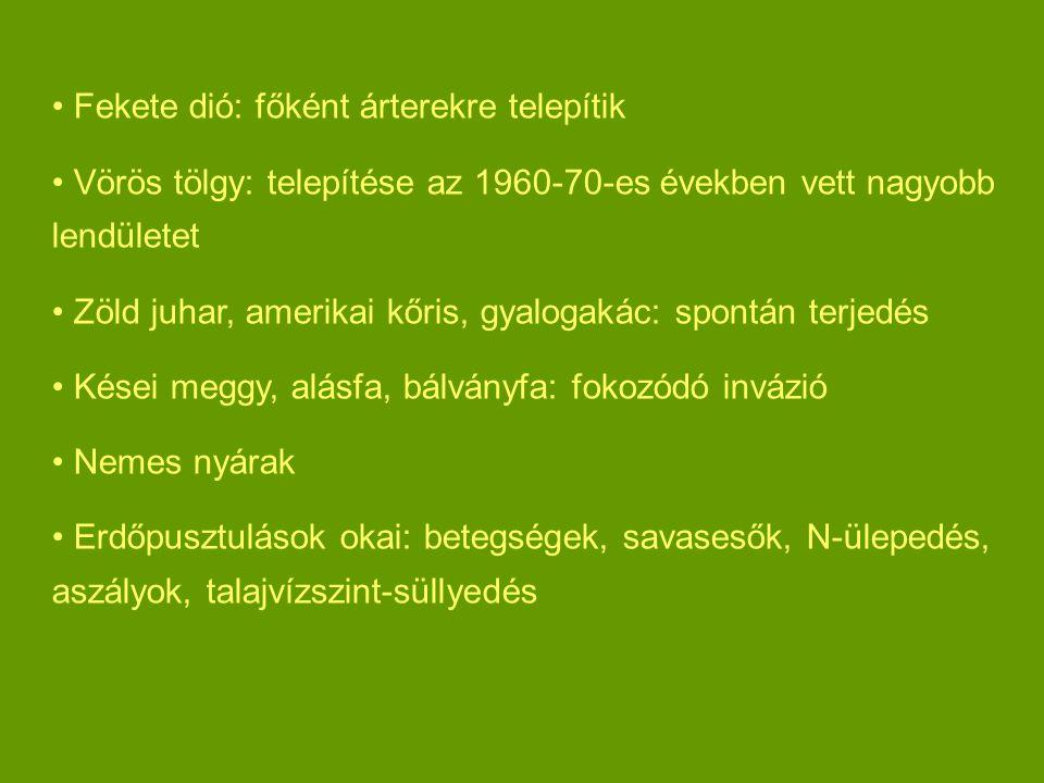Fekete dió: főként árterekre telepítik Vörös tölgy: telepítése az 1960-70-es években vett nagyobb lendületet Zöld juhar, amerikai kőris, gyalogakác: spontán terjedés Kései meggy, alásfa, bálványfa: fokozódó invázió Nemes nyárak Erdőpusztulások okai: betegségek, savasesők, N-ülepedés, aszályok, talajvízszint-süllyedés