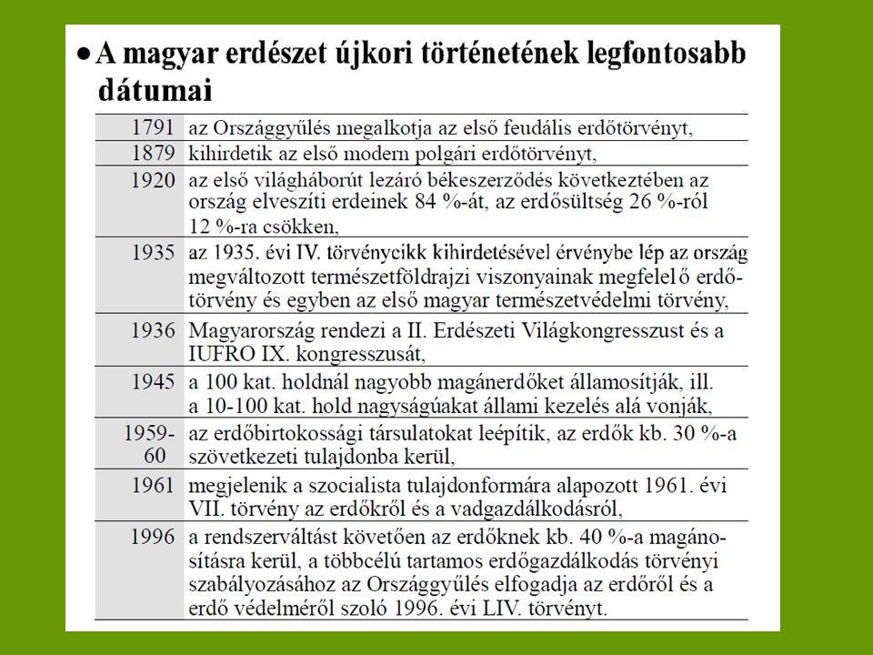 Az erdőterület változása a honfoglalástól napjainkig ÉvTerület (1000 ha)Erdősültség (%) 895345037,2 – 60.