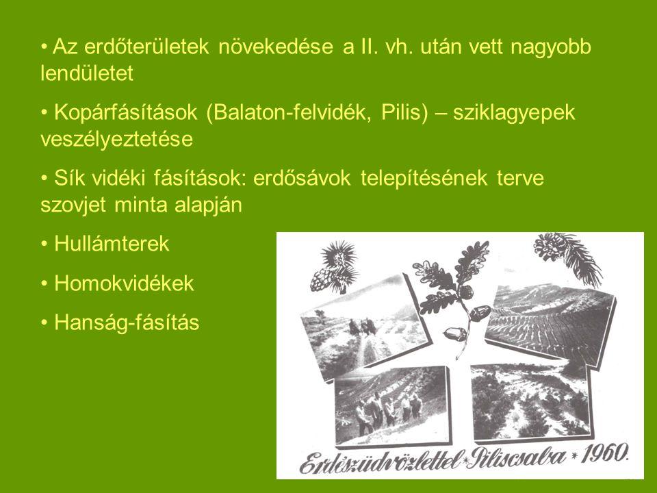 Az erdőterületek növekedése a II.vh.