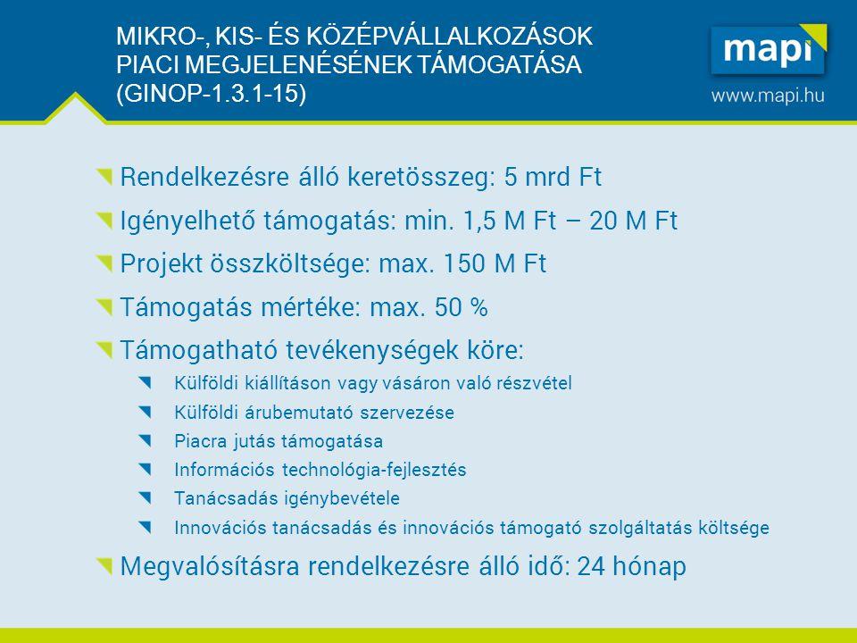 MIKRO-, KIS- ÉS KÖZÉPVÁLLALKOZÁSOK PIACI MEGJELENÉSÉNEK TÁMOGATÁSA (GINOP-1.3.1-15) Rendelkezésre álló keretösszeg: 5 mrd Ft Igényelhető támogatás: min.