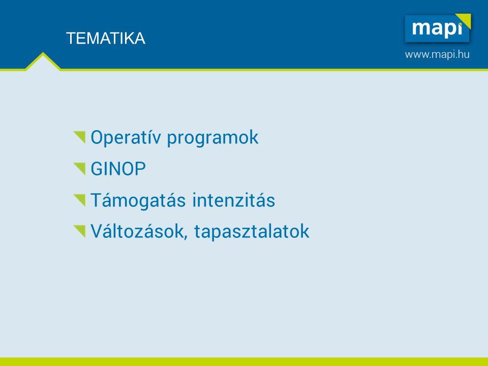 TEMATIKA Operatív programok GINOP Támogatás intenzitás Változások, tapasztalatok