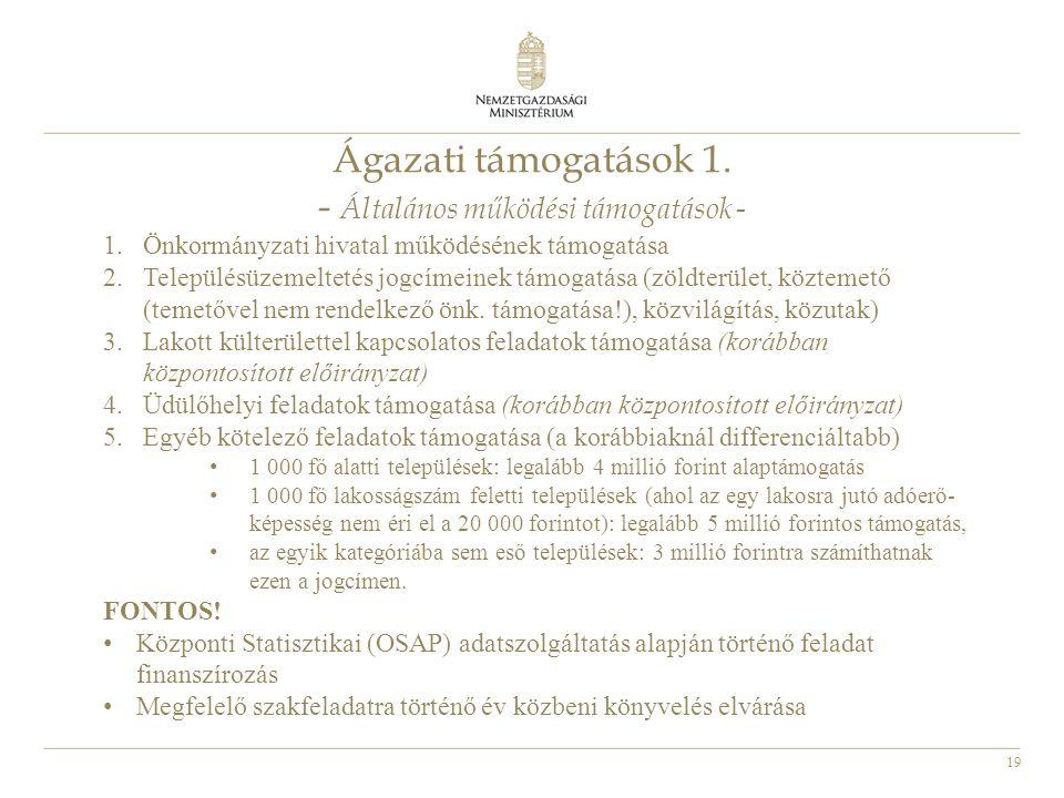19 Ágazati támogatások 1. - Általános működési támogatások - 1.Önkormányzati hivatal működésének támogatása 2.Településüzemeltetés jogcímeinek támogat