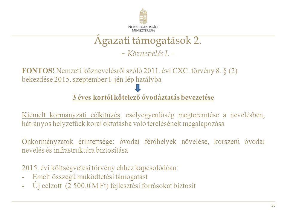 20 Ágazati támogatások 2. - Köznevelés I. - FONTOS! Nemzeti köznevelésről szóló 2011. évi CXC. törvény 8. § (2) bekezdése 2015. szeptember 1-jén lép h