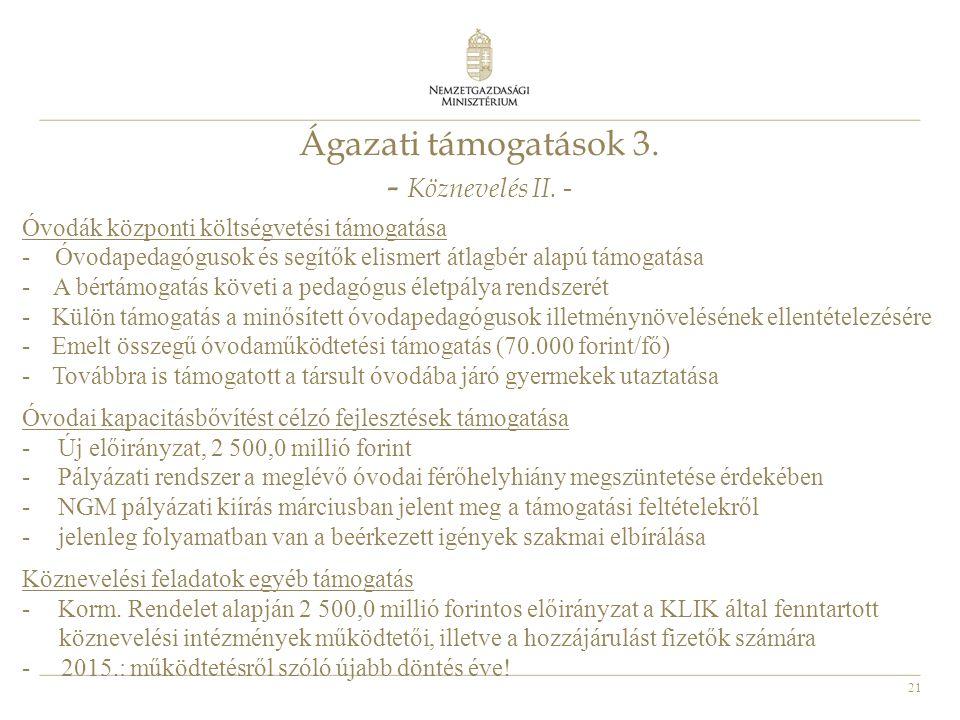 21 Ágazati támogatások 3. - Köznevelés II. - Óvodák központi költségvetési támogatása - Óvodapedagógusok és segítők elismert átlagbér alapú támogatása