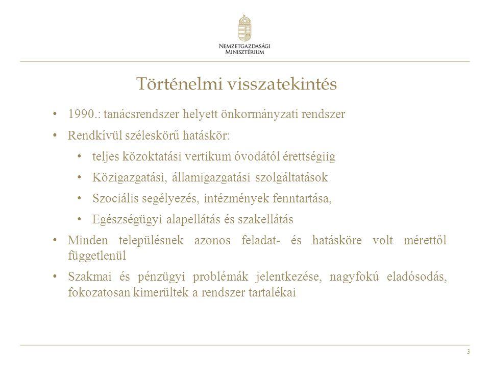 3 Történelmi visszatekintés 1990.: tanácsrendszer helyett önkormányzati rendszer Rendkívül széleskörű hatáskör: teljes közoktatási vertikum óvodától é