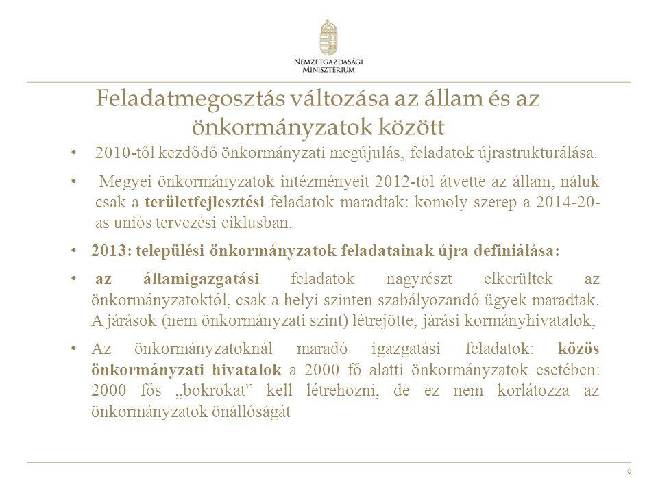 6 Feladatmegosztás változása az állam és az önkormányzatok között 2010-től kezdődő önkormányzati megújulás, feladatok újrastrukturálása. Megyei önkorm