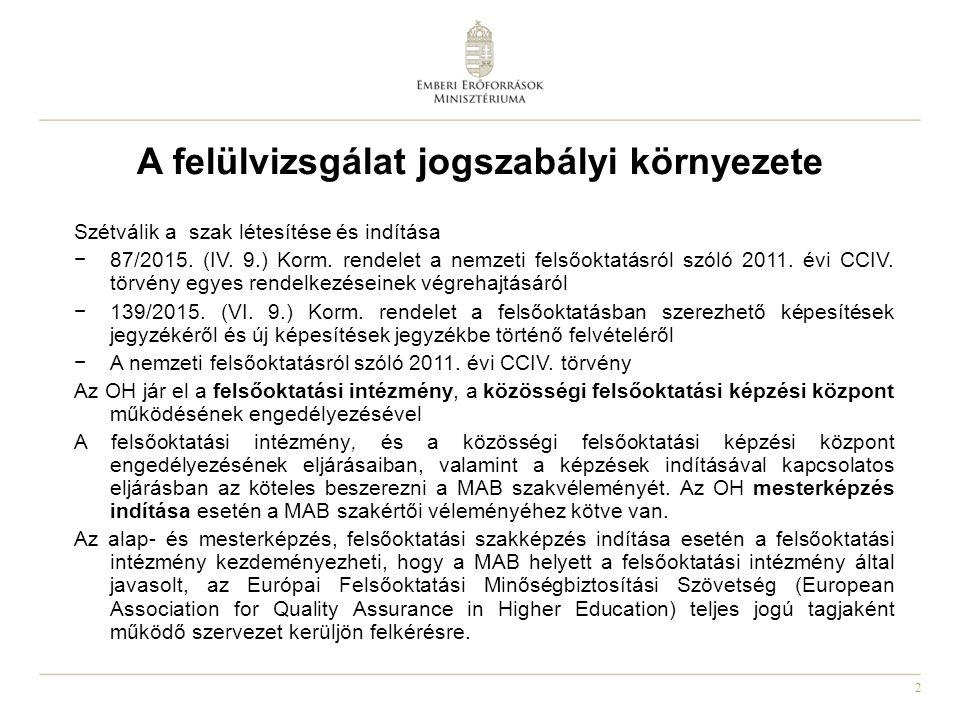 2 A felülvizsgálat jogszabályi környezete Szétválik a szak létesítése és indítása −87/2015. (IV. 9.) Korm. rendelet a nemzeti felsőoktatásról szóló 20
