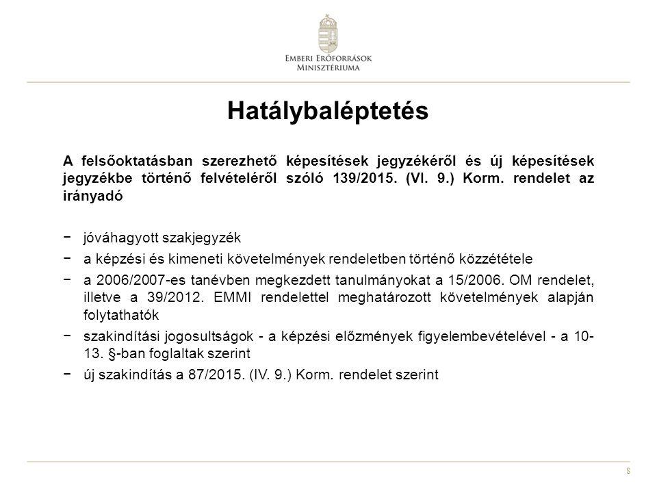 8 Hatálybaléptetés A felsőoktatásban szerezhető képesítések jegyzékéről és új képesítések jegyzékbe történő felvételéről szóló 139/2015. (VI. 9.) Korm