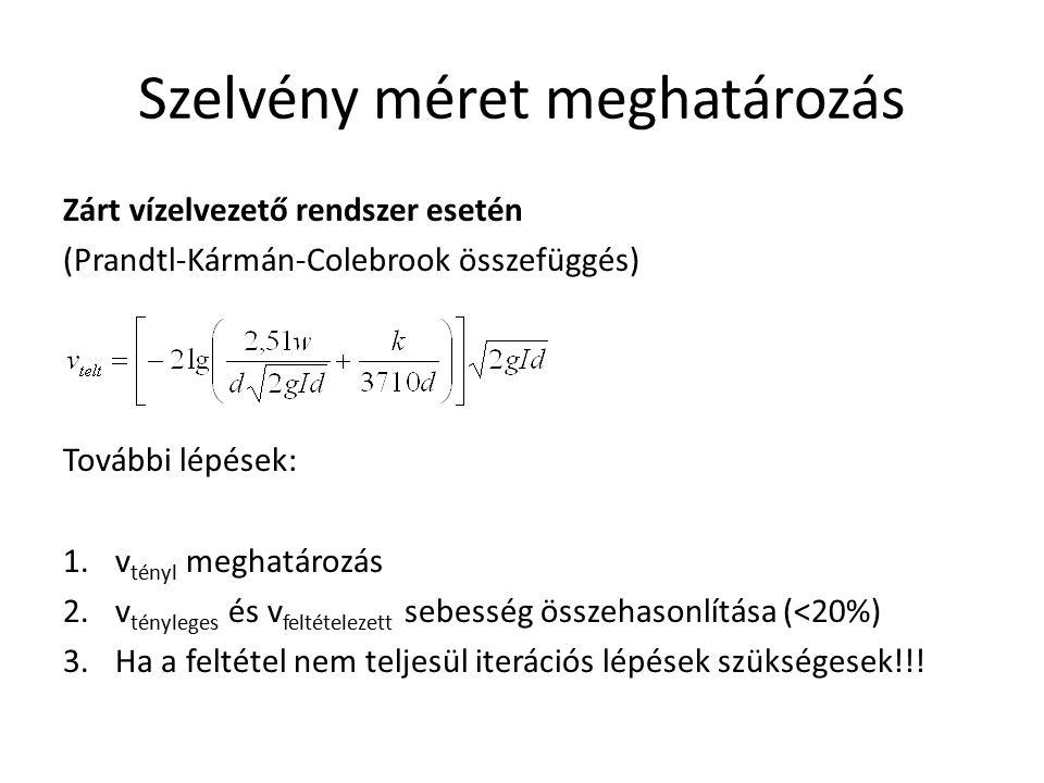 Szelvény méret meghatározás Zárt vízelvezető rendszer esetén (Prandtl-Kármán-Colebrook összefüggés) További lépések: 1.v tényl meghatározás 2.v tényle