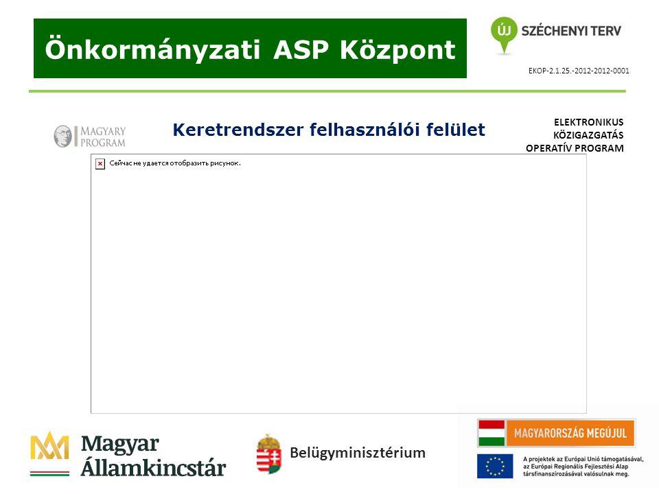 EKOP-2.1.25.-2012-2012-0001 Önkormányzati ASP Központ Keretrendszer felhasználói felület Belügyminisztérium ELEKTRONIKUS KÖZIGAZGATÁS OPERATÍV PROGRAM