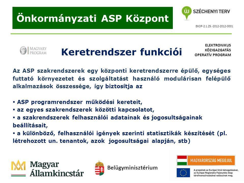 EKOP-2.1.25.-2012-2012-0001 Önkormányzati ASP Központ Keretrendszer funkciói Az ASP szakrendszerek egy központi keretrendszerre épülő, egységes futtat