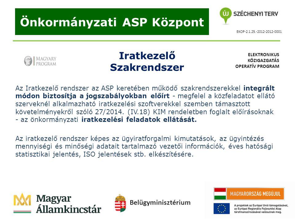 EKOP-2.1.25.-2012-2012-0001 Önkormányzati ASP Központ Iratkezelő Szakrendszer Az Iratkezelő rendszer az ASP keretében működő szakrendszerekkel integrá