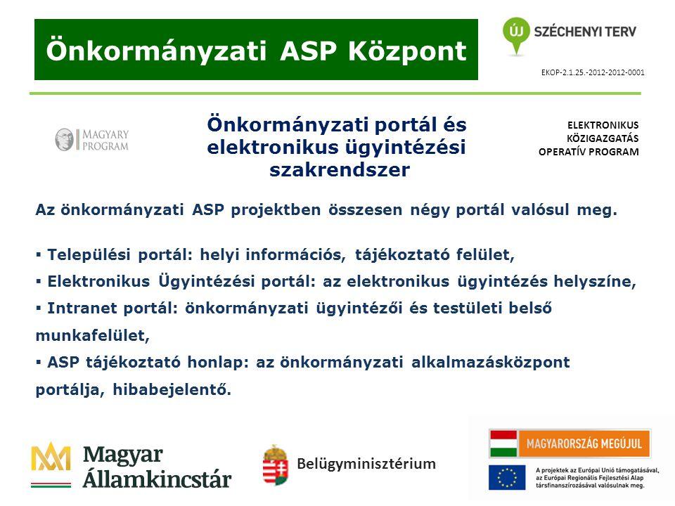 EKOP-2.1.25.-2012-2012-0001 Önkormányzati ASP Központ Önkormányzati portál és elektronikus ügyintézési szakrendszer Az önkormányzati ASP projektben ös