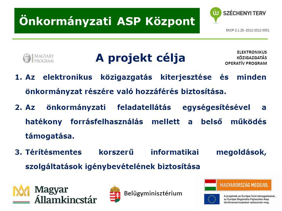 EKOP-2.1.25.-2012-2012-0001 Önkormányzati ASP Központ A projekt célja 1.Az elektronikus közigazgatás kiterjesztése és minden önkormányzat részére való