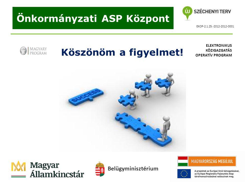 EKOP-2.1.25.-2012-2012-0001 Önkormányzati ASP Központ Köszönöm a figyelmet! Belügyminisztérium ELEKTRONIKUS KÖZIGAZGATÁS OPERATÍV PROGRAM