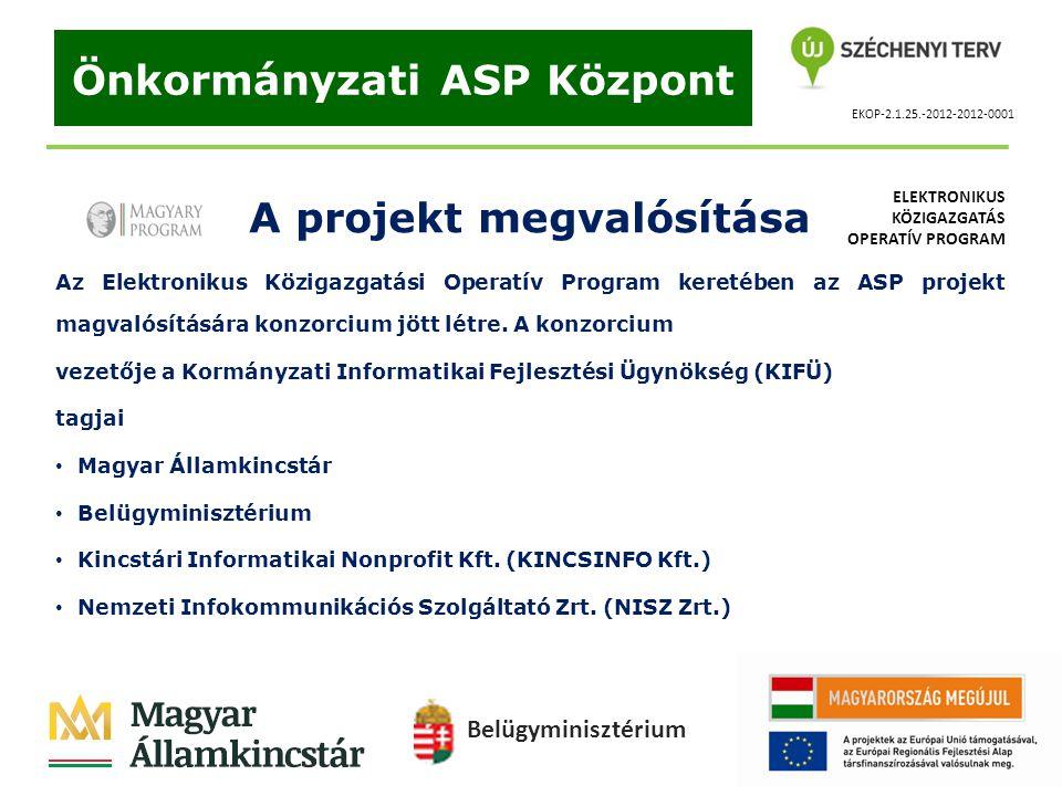 EKOP-2.1.25.-2012-2012-0001 Önkormányzati ASP Központ A projekt megvalósítása Az Elektronikus Közigazgatási Operatív Program keretében az ASP projekt
