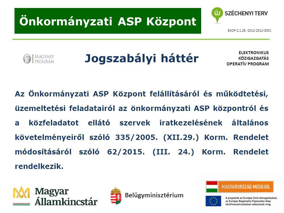 EKOP-2.1.25.-2012-2012-0001 Önkormányzati ASP Központ Jogszabályi háttér Az Önkormányzati ASP Központ felállításáról és működtetési, üzemeltetési fela