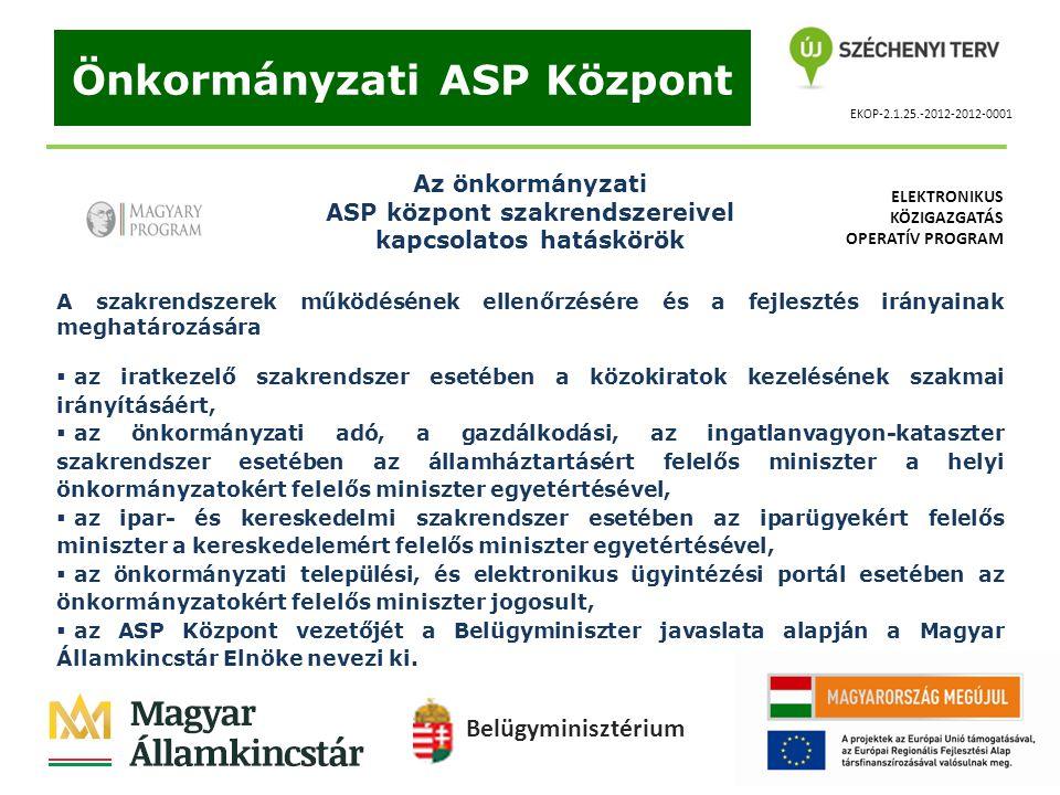 EKOP-2.1.25.-2012-2012-0001 Önkormányzati ASP Központ Az önkormányzati ASP központ szakrendszereivel kapcsolatos hatáskörök A szakrendszerek működésén