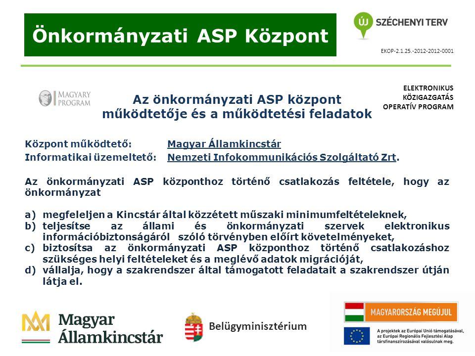 EKOP-2.1.25.-2012-2012-0001 Önkormányzati ASP Központ Az önkormányzati ASP központ működtetője és a működtetési feladatok Központ működtető: Magyar Ál