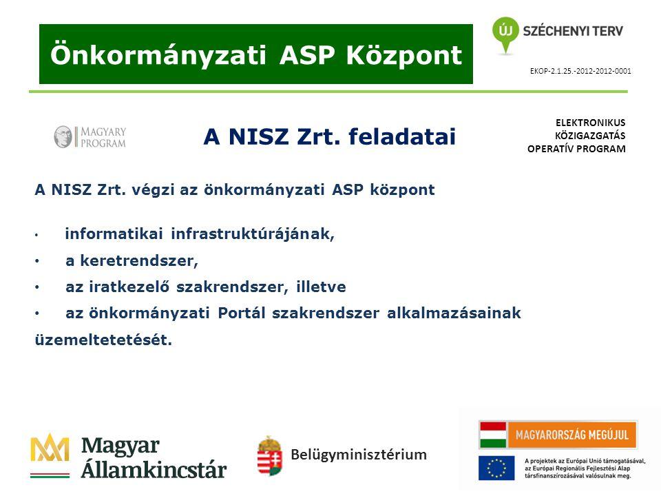 EKOP-2.1.25.-2012-2012-0001 Önkormányzati ASP Központ A NISZ Zrt. feladatai A NISZ Zrt. végzi az önkormányzati ASP központ informatikai infrastruktúrá