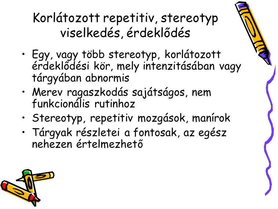 Korlátozott repetitiv, stereotyp viselkedés, érdeklődés Egy, vagy több stereotyp, korlátozott érdeklődési kör, mely intenzitásában vagy tárgyában abno