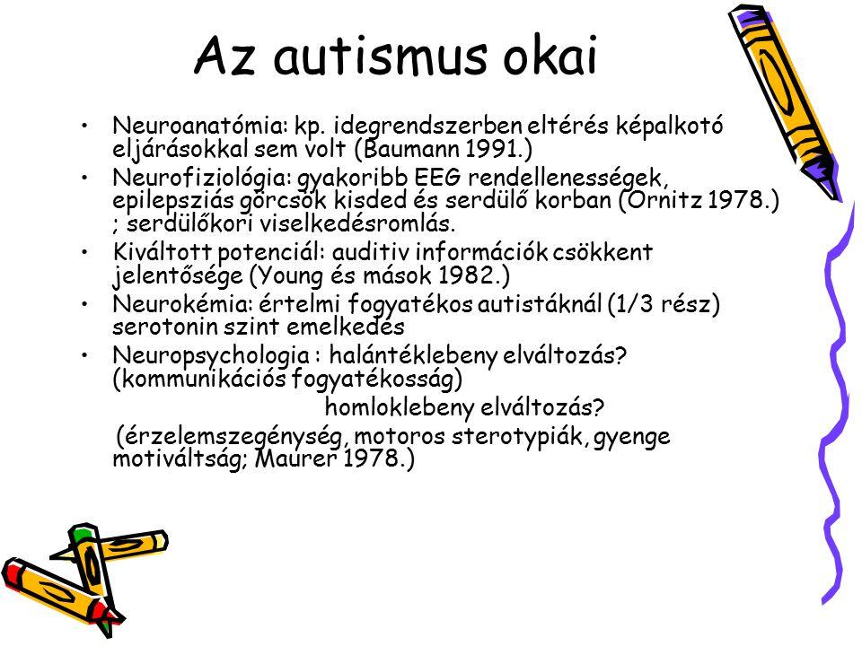 Az autismus okai Neuroanatómia: kp. idegrendszerben eltérés képalkotó eljárásokkal sem volt (Baumann 1991.) Neurofiziológia: gyakoribb EEG rendellenes