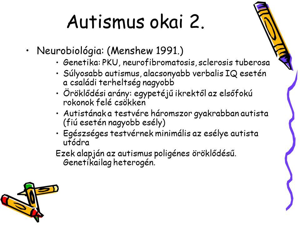 Autismus okai 2. Neurobiológia: (Menshew 1991.) Genetika: PKU, neurofibromatosis, sclerosis tuberosa Súlyosabb autismus, alacsonyabb verbalis IQ eseté