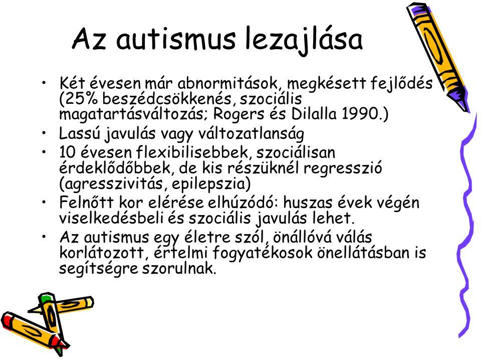 Az autismus lezajlása Két évesen már abnormitások, megkésett fejlődés (25% beszédcsökkenés, szociális magatartásváltozás; Rogers és Dilalla 1990.) Las