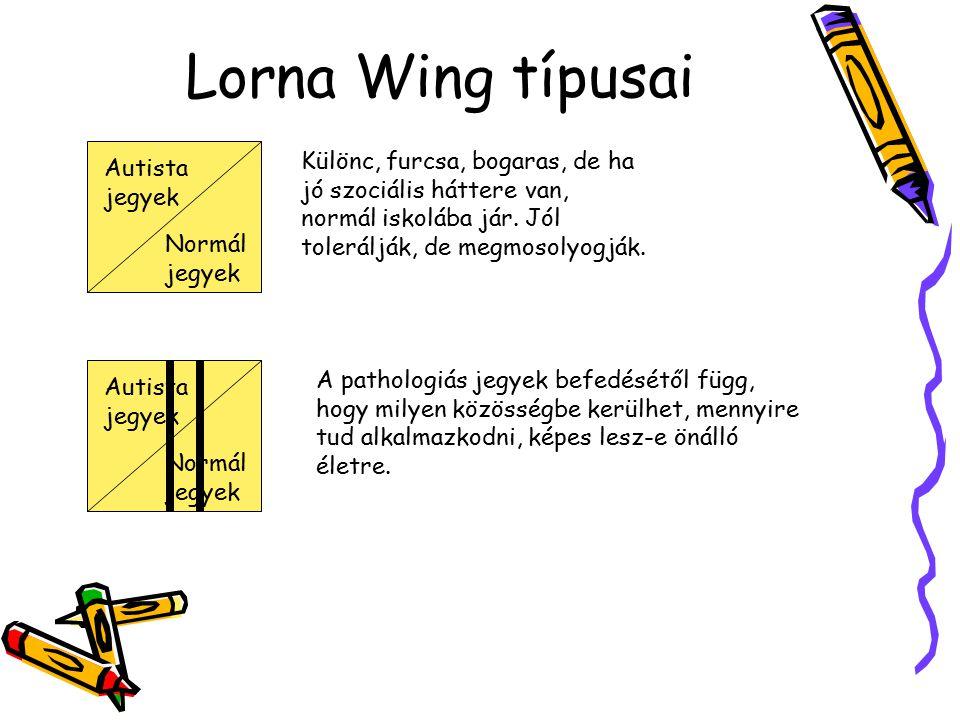 Lorna Wing típusai Autista jegyek Normál jegyek Különc, furcsa, bogaras, de ha jó szociális háttere van, normál iskolába jár. Jól tolerálják, de megmo
