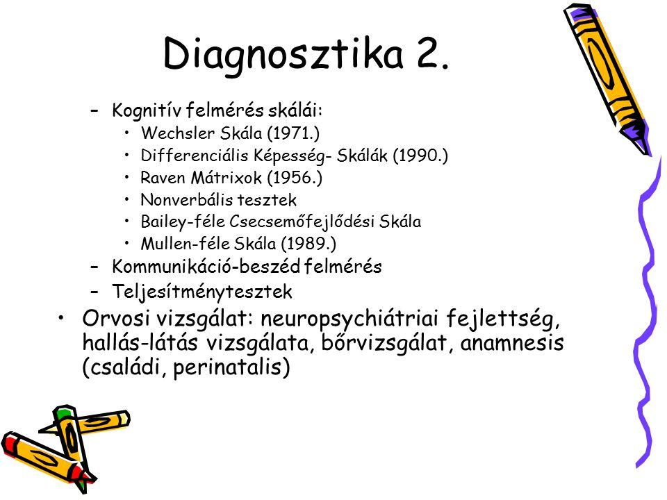 Diagnosztika 2. –Kognitív felmérés skálái: Wechsler Skála (1971.) Differenciális Képesség- Skálák (1990.) Raven Mátrixok (1956.) Nonverbális tesztek B