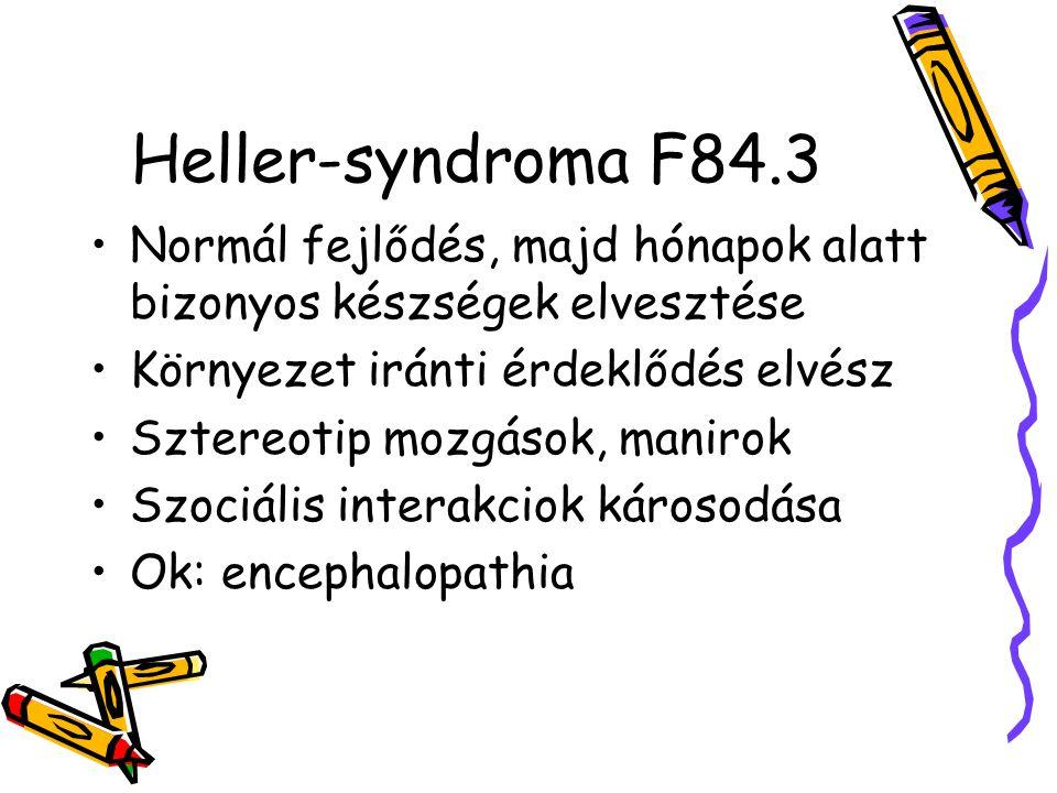 Heller-syndroma F84.3 Normál fejlődés, majd hónapok alatt bizonyos készségek elvesztése Környezet iránti érdeklődés elvész Sztereotip mozgások, maniro
