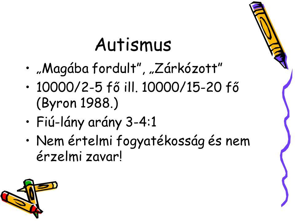 """Autismus """"Magába fordult"""", """"Zárkózott"""" 10000/2-5 fő ill. 10000/15-20 fő (Byron 1988.) Fiú-lány arány 3-4:1 Nem értelmi fogyatékosság és nem érzelmi za"""