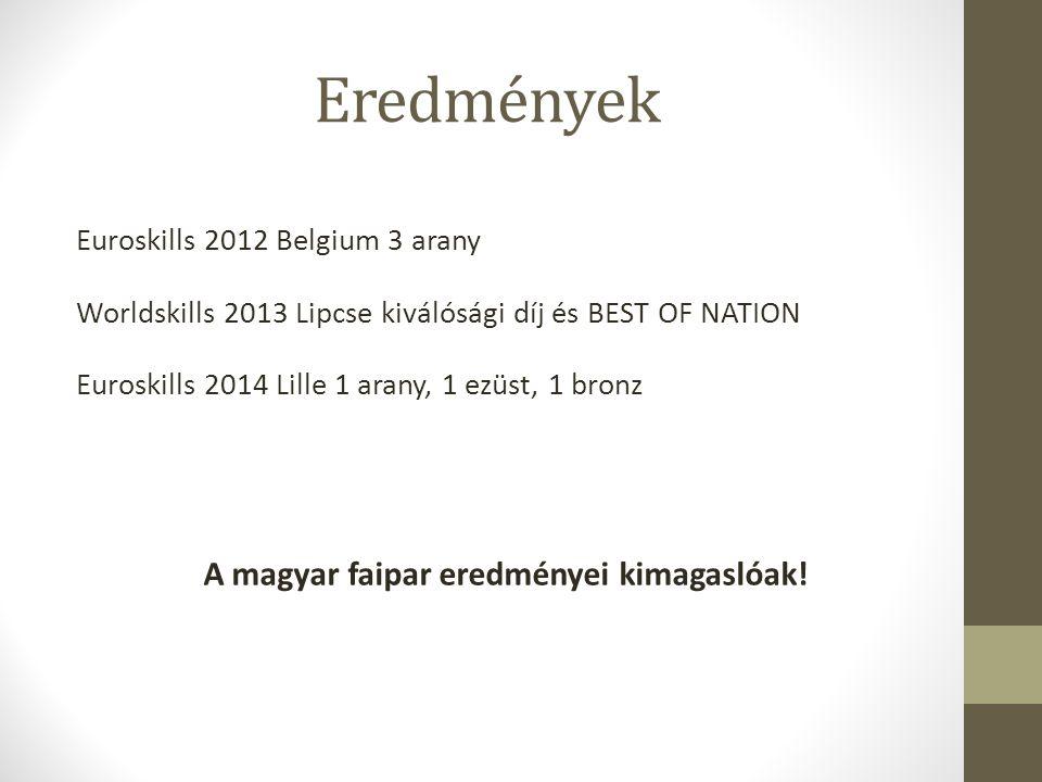Eredmények Euroskills 2012 Belgium 3 arany Worldskills 2013 Lipcse kiválósági díj és BEST OF NATION Euroskills 2014 Lille 1 arany, 1 ezüst, 1 bronz A
