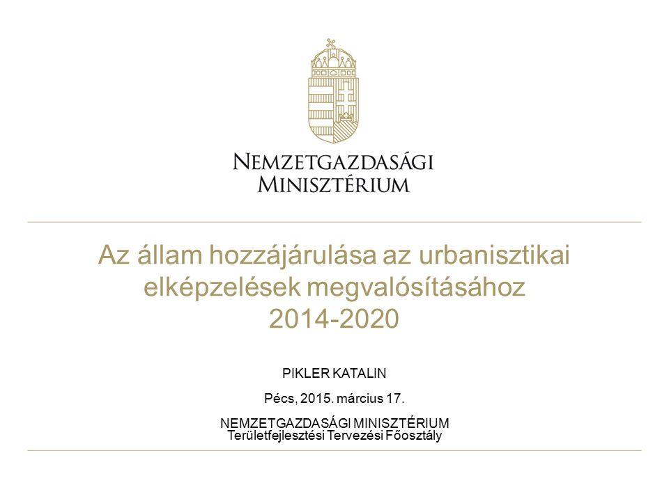 Fejlesztési keretek 2014-2020 Alapja: az EU és Magyarország közötti Partnerségi Megállapodás EU források elsődlegesen gazdaságfejlesztést céloznak (60%): GINOP: Gazdaságfejlesztési és Innovációs Operatív Program TOP: Terület- és településfejlesztési Operatív Program VEKOP: Versenyképes Közép-Magyarország Operatív Program További keretek: IKOP: Integrált Közlekedésfejlesztési Operatív Program KEHOP: Környezeti és Energetikai Hatékonysági Operatív Program EFOP: Emberi Erőforrás Fejlesztési Operatív Program RSZTOP: Rászoruló Személyeket Támogató Operatív Program KÖFOP: Közigazgatás- és Közszolgáltatás-fejlesztési Op.
