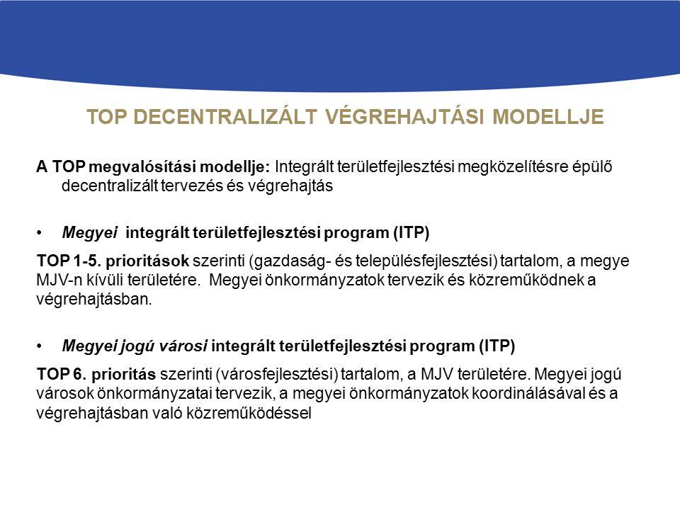 TOP DECENTRALIZÁLT VÉGREHAJTÁSI MODELLJE A TOP megvalósítási modellje: Integrált területfejlesztési megközelítésre épülő decentralizált tervezés és vé