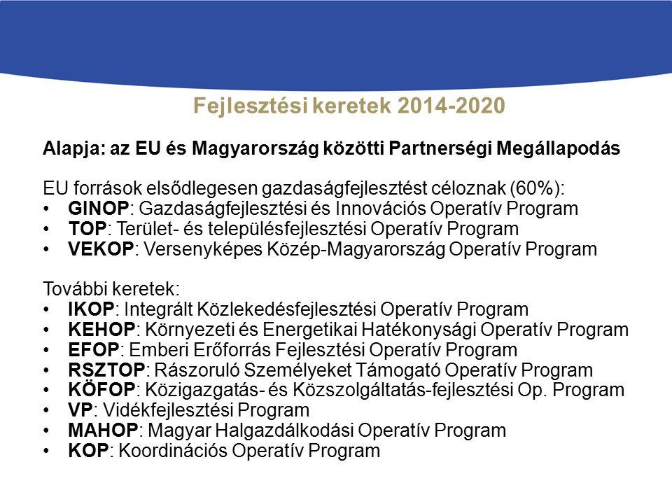 Fejlesztési keretek 2014-2020 Alapja: az EU és Magyarország közötti Partnerségi Megállapodás EU források elsődlegesen gazdaságfejlesztést céloznak (60