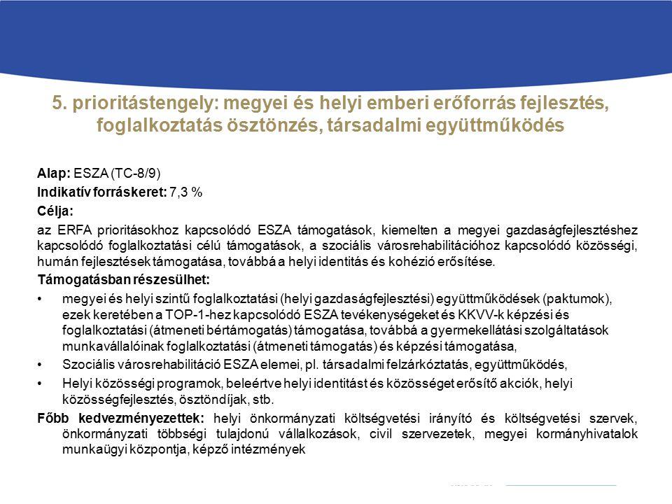 5. prioritástengely: megyei és helyi emberi erőforrás fejlesztés, foglalkoztatás ösztönzés, társadalmi együttműködés Alap: ESZA (TC-8/9) Indikatív for