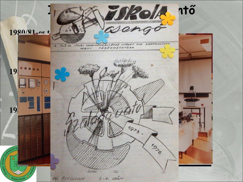 """1980/81-es tanév műszerész képzés kezdete textiltisztító szakma indul elkészül a könyvtár (mai formában) 1981/82-es tanév: EGYÜTTMŰKÖDÉS gyakorlati oktatás üzemi feltételek között pályaválasztás elősegítése végzősök foglalkoztatása 1983/84-es tanév szakközépiskolai oktatás indulása új név """"sárga építése Iskolatörténeti áttekintő"""
