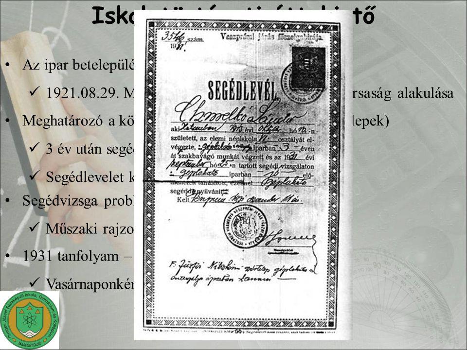 Iskolatörténeti áttekintő Az ipar betelepülésével együtt indult a képzés 1921.08.29. Magyar Lőporgyárüzemi Részvénytársaság alakulása Meghatározó a kö