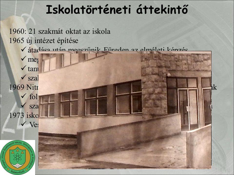 1960: 21 szakmát oktat az iskola 1965 új intézet építése átadása után megszűnik Füreden az elméleti képzés megnő a beiskolázási terület tanulóotthon, de öt helyen szakmunkásképző intézet vagy szakmunkásképző iskola 1969 Nitrokémia Ipartelepek átadja a munkásszállót diákotthonnak folyamatosan növekvő létszám szakmunkás bizonyítvány és utána dolgozók középiskolája 1973 iskolák átadásra kerülnek (1973.