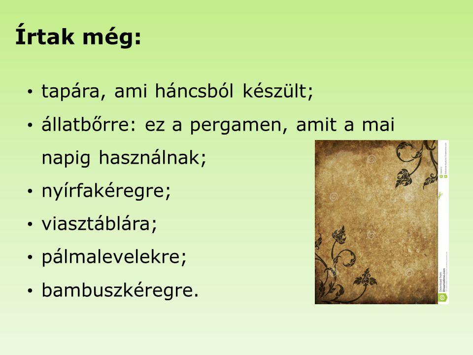 Írtak még: tapára, ami háncsból készült; állatbőrre: ez a pergamen, amit a mai napig használnak; nyírfakéregre; viasztáblára; pálmalevelekre; bambuszk