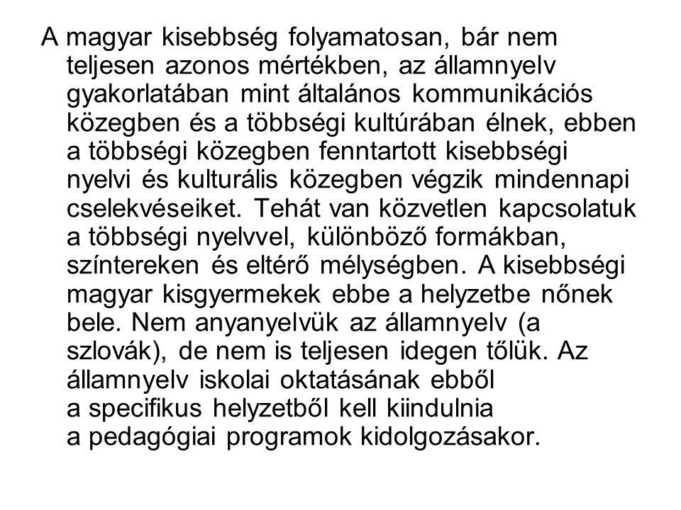A magyar kisebbség folyamatosan, bár nem teljesen azonos mértékben, az államnyelv gyakorlatában mint általános kommunikációs közegben és a többségi kultúrában élnek, ebben a többségi közegben fenntartott kisebbségi nyelvi és kulturális közegben végzik mindennapi cselekvéseiket.