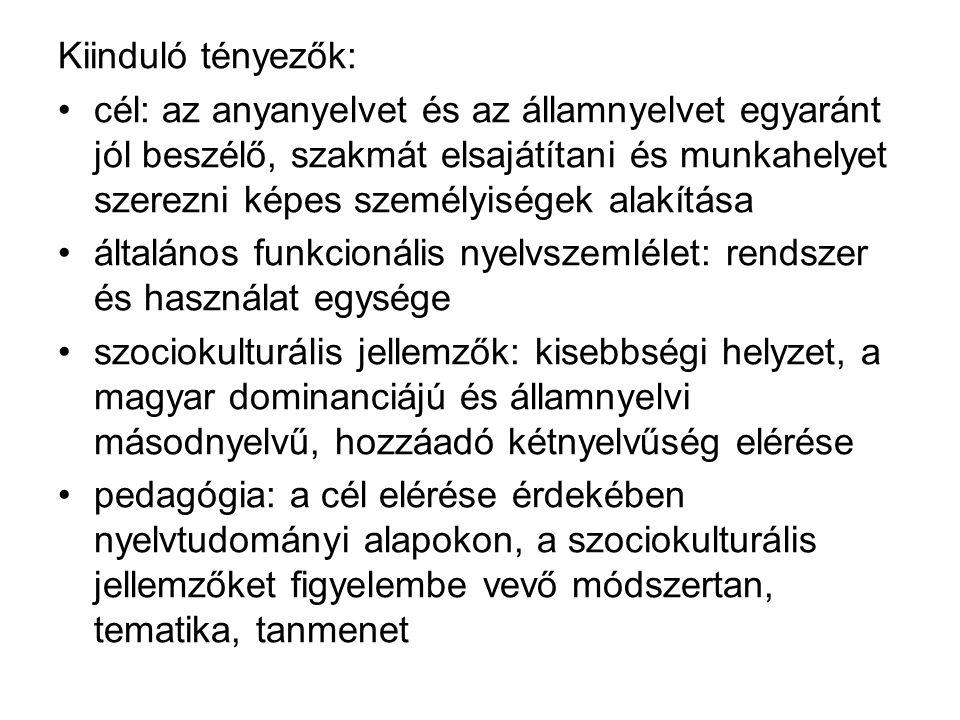 Kiinduló tényezők: cél: az anyanyelvet és az államnyelvet egyaránt jól beszélő, szakmát elsajátítani és munkahelyet szerezni képes személyiségek alakítása általános funkcionális nyelvszemlélet: rendszer és használat egysége szociokulturális jellemzők: kisebbségi helyzet, a magyar dominanciájú és államnyelvi másodnyelvű, hozzáadó kétnyelvűség elérése pedagógia: a cél elérése érdekében nyelvtudományi alapokon, a szociokulturális jellemzőket figyelembe vevő módszertan, tematika, tanmenet