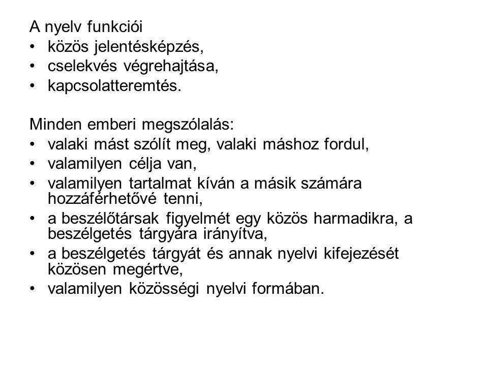 A nyelv funkciói közös jelentésképzés, cselekvés végrehajtása, kapcsolatteremtés.